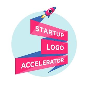 Conceito para projeto de inicialização com inscrição startup logo accelerator