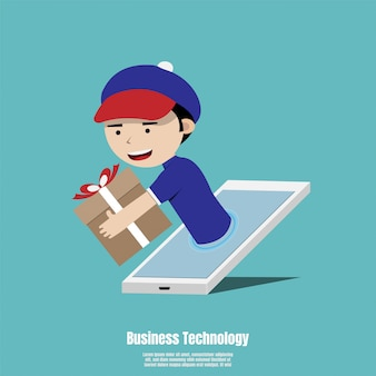 Conceito para serviço de entrega on-line rápido