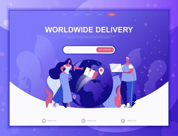 Conceito plana de entrega em todo o mundo, modelo de web de página de destino