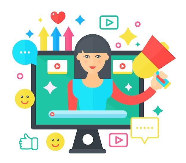 Conceito plana de vídeo blogueiro feminino