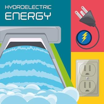 Conceito plana gerador de energia hidrelétrica ícone energia, plug e conector de energia