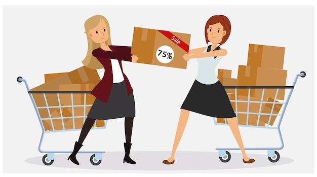 Conceito plano comercial de promoção e desconto. sexta-feira preta. duas mulheres estão lutando para conseguir seu produto.