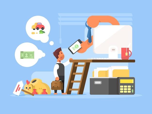 Conceito plano de carreira. pessoa de negócios no início da escada para o sucesso. ilustração vetorial