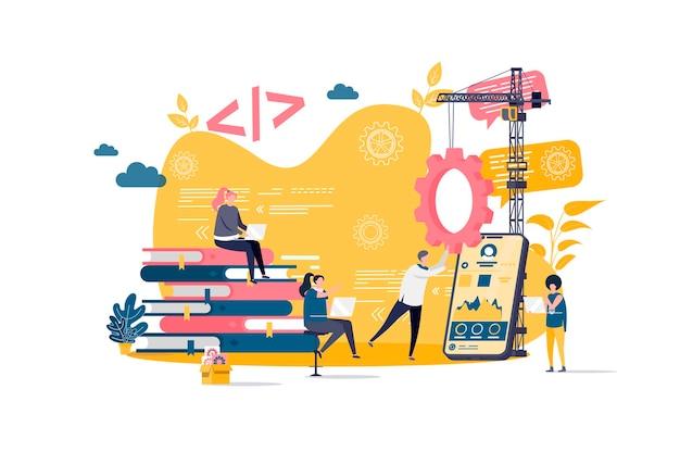 Conceito plano de desenvolvimento de aplicativos com ilustração de personagens de pessoas