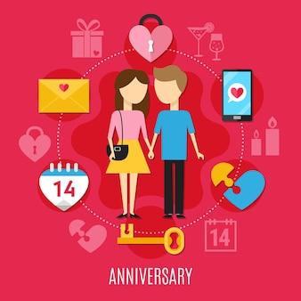 Conceito plano de dia dos namorados com atmosfera romântica e ilustração de duas pessoas apaixonadas