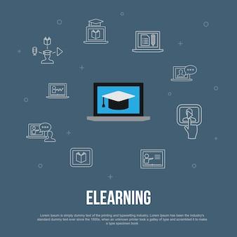Conceito plano de e-learning na moda da interface do usuário com ícones de linha simples. contém elementos como ensino à distância, treinamento online, treinamento em vídeo, webinar e muito mais