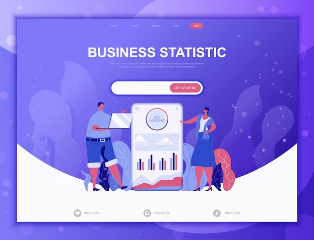 Conceito plano de estatística de negócios, modelo de web de página de destino
