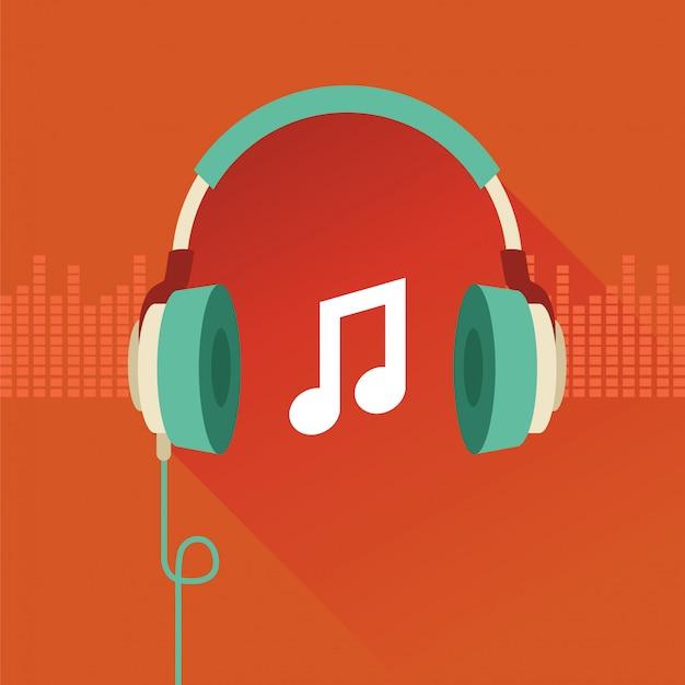 Conceito plano de fones de ouvido vetor - música