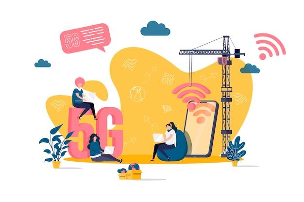 Conceito plano de internet com ilustração de personagens de pessoas