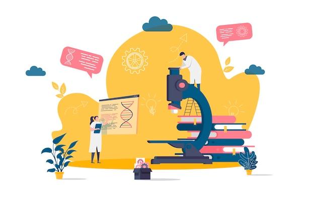 Conceito plano de laboratório médico com ilustração de personagens de pessoas