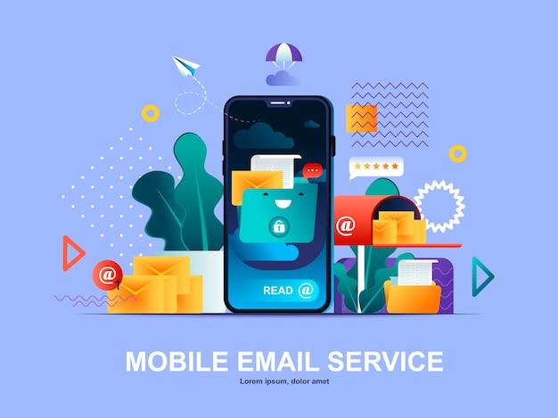 Conceito plano de serviço de e-mail móvel com modelo de ilustração de gradientes