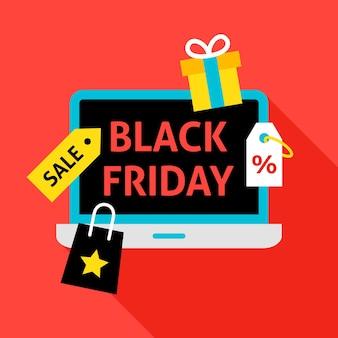 Conceito plano de sexta-feira negra. ilustração em vetor de venda de compras.