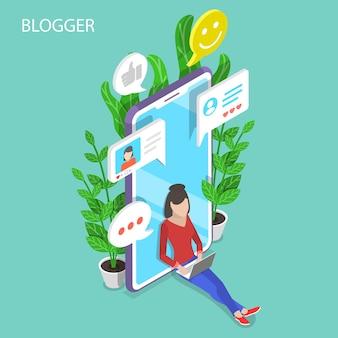 Conceito plano isométrico de blogger, postagem em blog comercial, direitos autorais