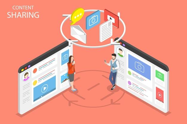 Conceito plano isométrico de compartilhamento de conteúdo, troca de informações, rede social.
