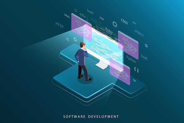Conceito plano isométrico de desenvolvimento de software, programação, codificação.