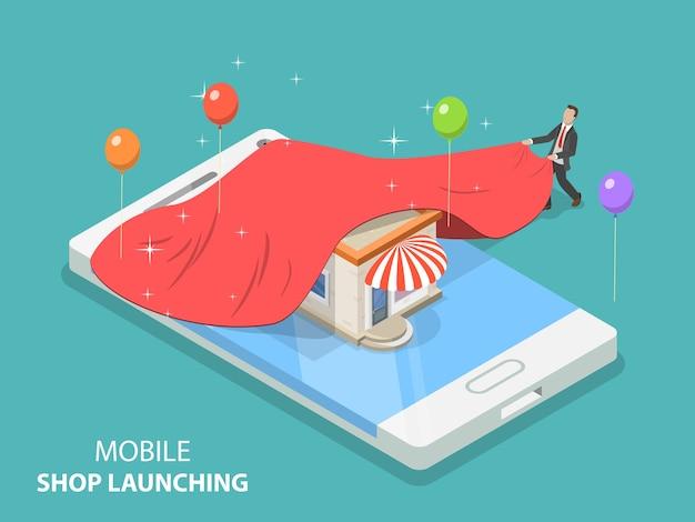 Conceito plano isométrico de lançamento de aplicativo de loja móvel, ideia de inicialização, desenvolvimento móvel.