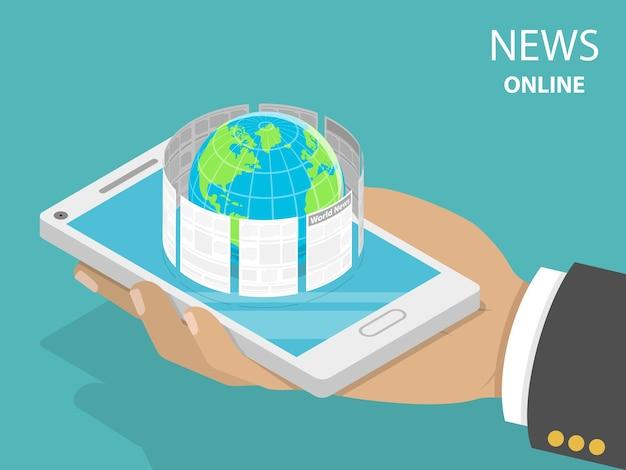 Conceito plano isométrico de notícias de última hora on-line, leitura móvel de jornais, mídia mundial.