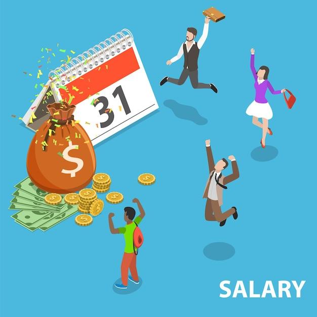 Conceito plano isométrico de salário, pagamento, bônus, renda, dia de pagamento anual