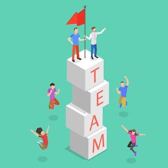 Conceito plano isométrico de trabalho em equipe bem-sucedido, conquista do objetivo da equipe e crescimento.