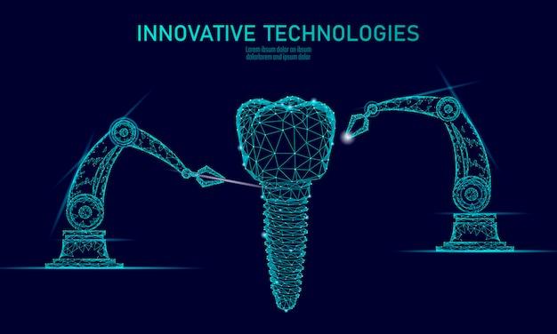 Conceito poligonal do braço do robô da inovação do dente 3d.