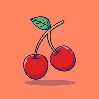 Conceito premium de design de ilustração vetorial cereja fruta