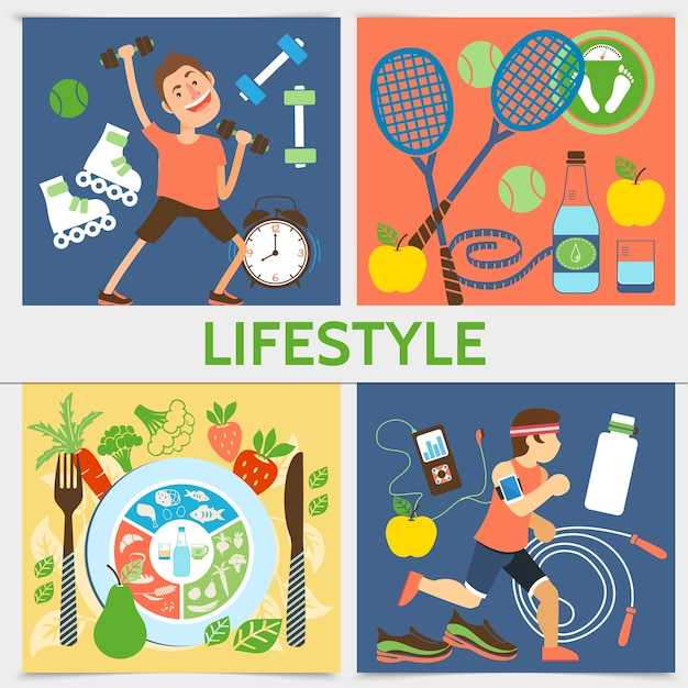 Conceito quadrado de estilo de vida ativo plano com equipamento de esporte de pessoas de aptidão e ilustração de comida saudável
