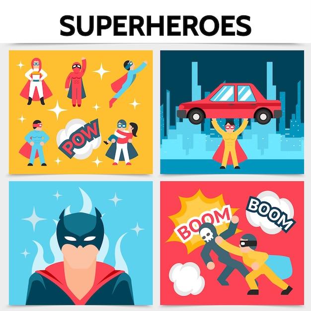 Conceito quadrado de super-heróis planos