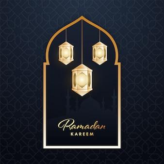 Conceito ramadan kareem com lanternas iluminadas douradas penduradas