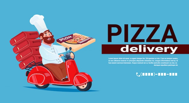 Conceito rápido da entrega da pizza cozinheiro chefe que monta a bicicleta vermelha do motor. modelo de banner