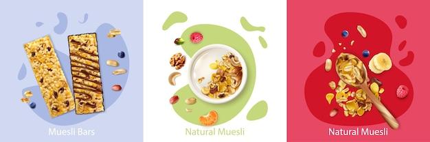 Conceito realista com frutas naturais e muesli de baga