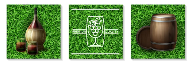 Conceito realista da indústria vinícola com garrafa de barris de madeira e copos cheios de vinho na ilustração de fundo de grama isolado
