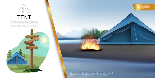 Conceito realista de acampamento colorido com tendas, fogueira, letreiro de madeira, paisagens naturais