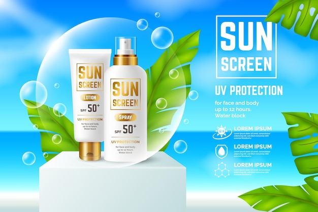Conceito realista de anúncio de filtro solar