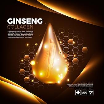 Conceito realista de anúncio de ginseng