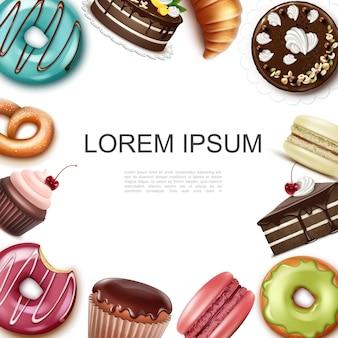 Conceito realista de bolos e sobremesas com lugar para texto, donuts, torta, muffin, cupcake, macaroons, croissant, pretzel, moldura