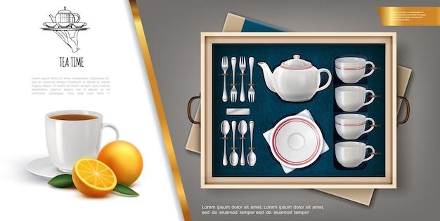 Conceito realista de conjunto de chá com xícaras de porcelana, talheres de prata, laranja madura e xícara de chá cheia de bebida quente