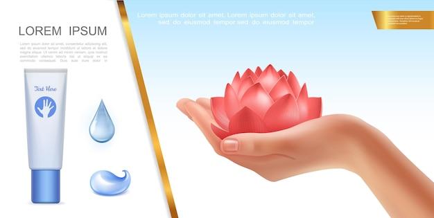 Conceito realista de cuidados com a pele com uma mão feminina segurando gotas de água de flor de lótus e um tubo cosmético de creme