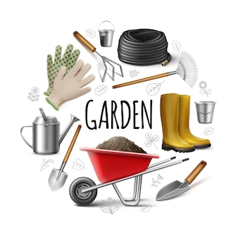 Conceito realista de jardim redondo com botas, luvas, regador, pá, pá, espátula, mangueira, enxada, baldes, carrinho de mão, de, sujeira, isolado, ilustração