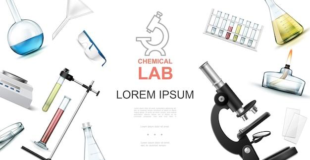 Conceito realista de laboratório químico com tubos de ensaio de microscópio, frascos, óculos de proteção, lâmpada de espírito