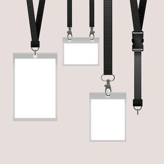 Conceito realista de papelaria cartão de identificação