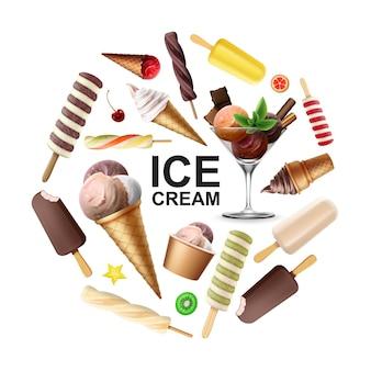 Conceito realista de rodada de sorvete saboroso com sorvete de frutas chocolate esmalte de baunilha colheres coloridas de folhas de hortelã em copo