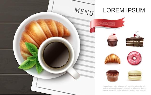 Conceito realista de sobremesas e produtos de panificação com ilustração de xícara de café croissant de pedaço de torta de bolinho