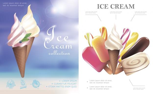 Conceito realista de sorvete com saborosos sorvetes de picolé de picolé em cones de waffle e no palito