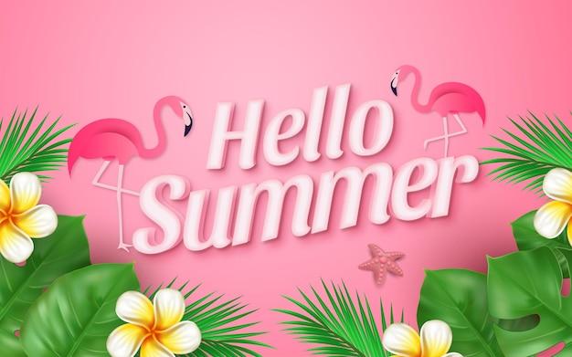 Conceito realista de venda de verão olá com flamingo de folhas tropicais e estrela do mar rosa