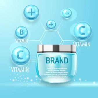 Conceito realista. produto natural cosmético de vitamina power.