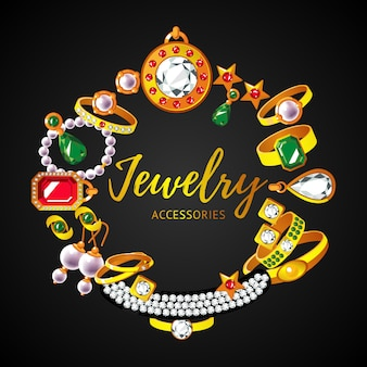 Conceito redondo de acessórios para joias bonitas