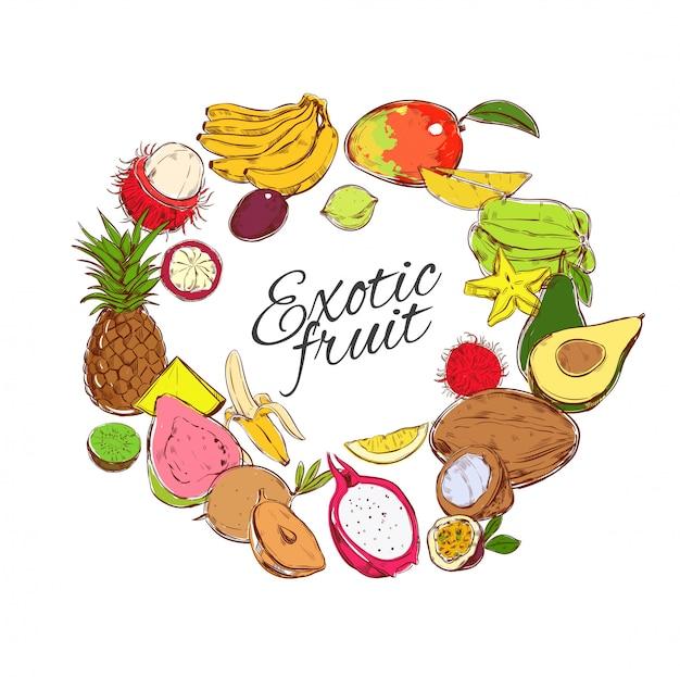 Conceito redondo de frutas tropicais naturais coloridas