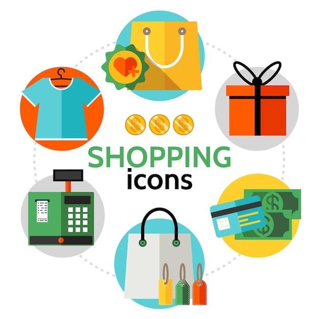Conceito redondo de ícones de compras planas
