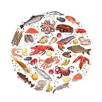 Conceito redondo de produtos de frutos do mar de esboço colorido
