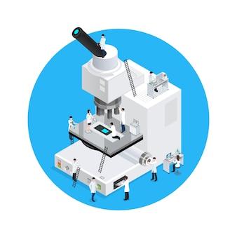 Conceito redondo dos cientistas do microscópio